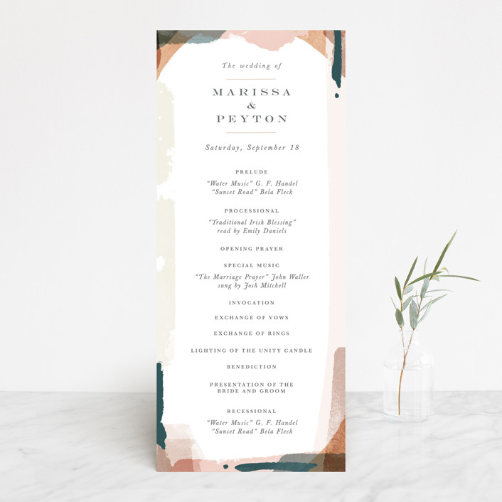 """Overlapping"" - Modern Wedding Programs in Blush by Jennifer Wick."