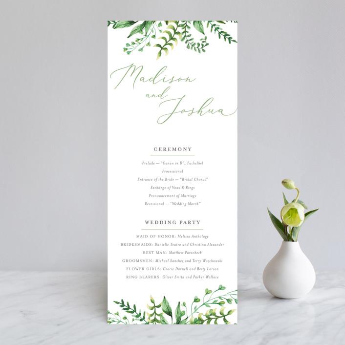 """""""Bright & Green"""" - Wedding Programs in Sprig by Amanda Day."""