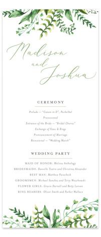 Bright & Green Wedding Programs