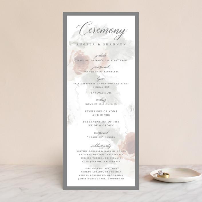 """rose drop"" - Wedding Programs in Rose by Cassandra Imagines."