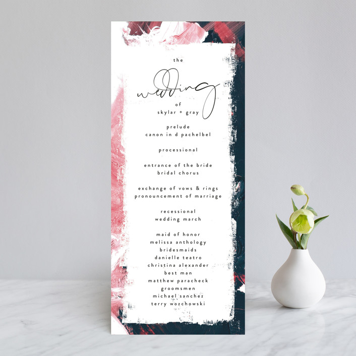 """living coral"" - Modern Wedding Programs in Coral by Phrosne Ras."