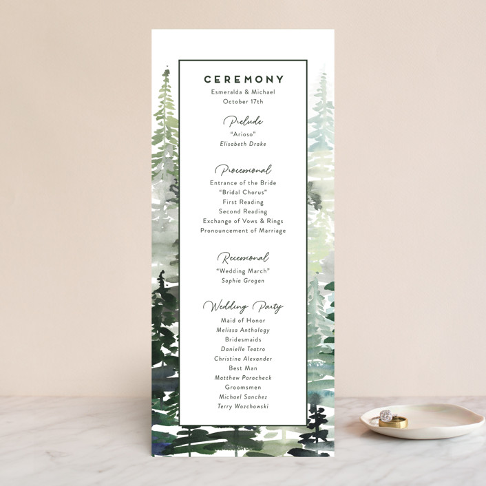 """Evergreens Watercolor"" - Unique Wedding Programs in Forest by Yao Cheng Design."