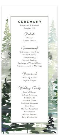 Evergreens Watercolor Wedding Programs