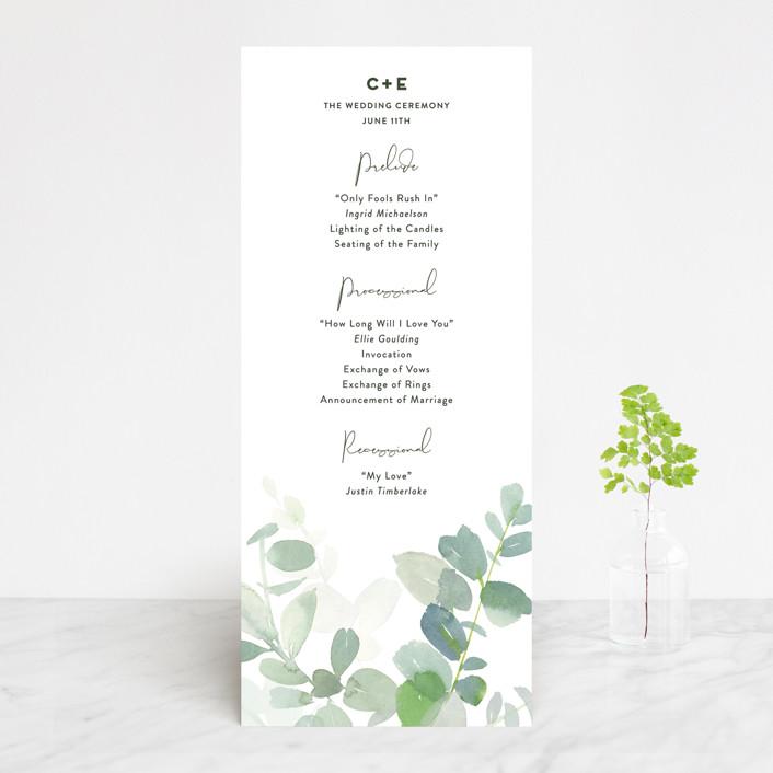 """""""Soft Eucalyptus"""" - Wedding Programs in Garden by Yao Cheng Design."""