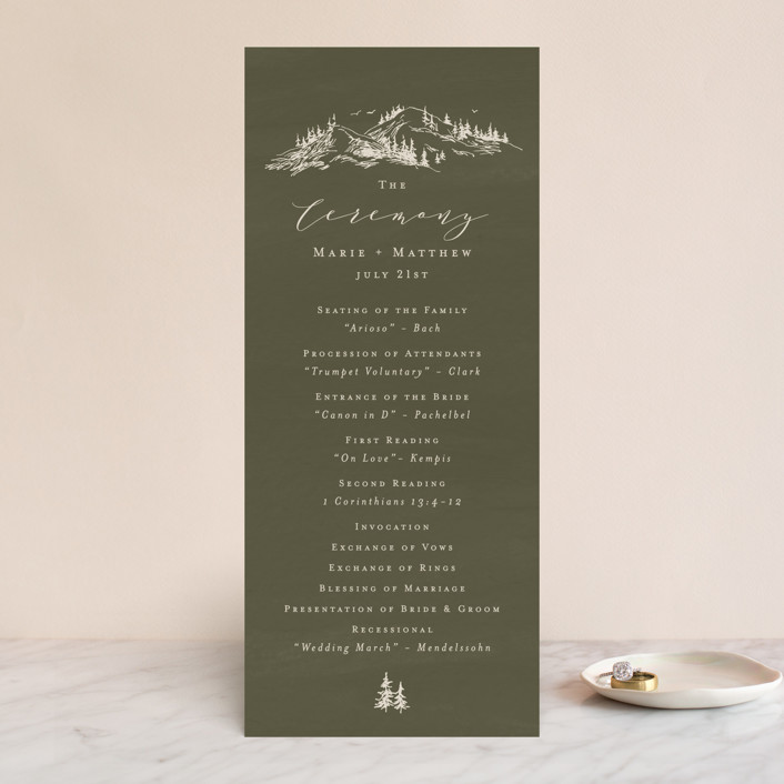 """into the mountains"" - Rustic Wedding Programs in Olive by Helen Halik."