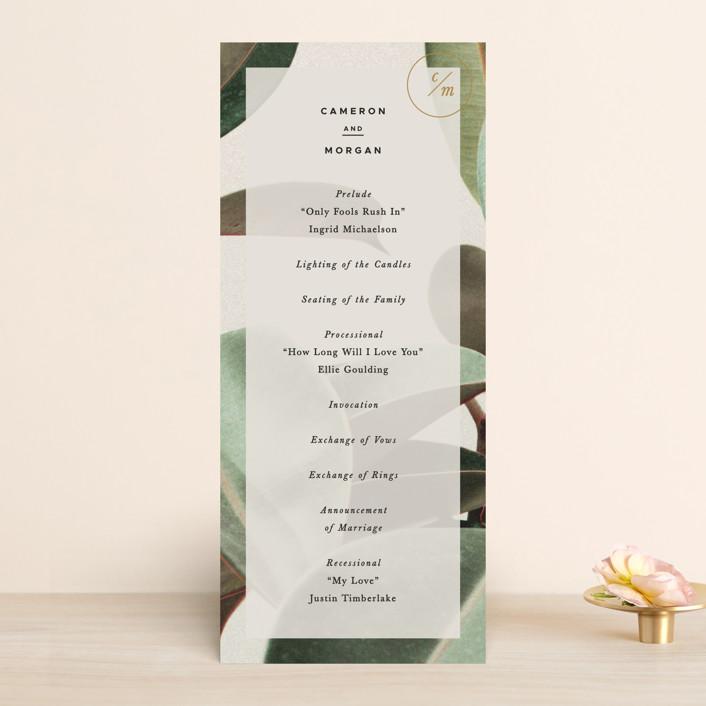 """Powder Room Florals"" - Wedding Programs in Cream by Ariel Rutland."