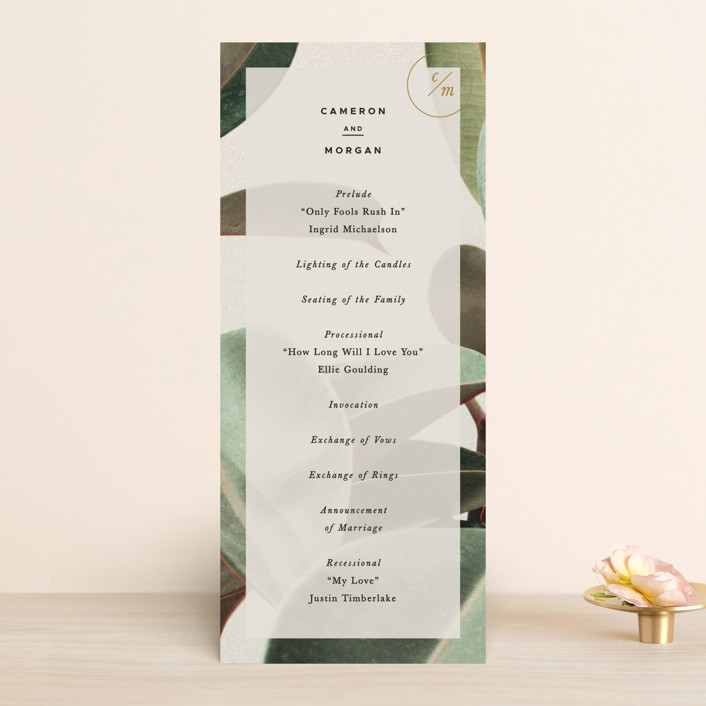 """Powder Room Florals"" - Wedding Programs in Cream by Ariel Rutland."
