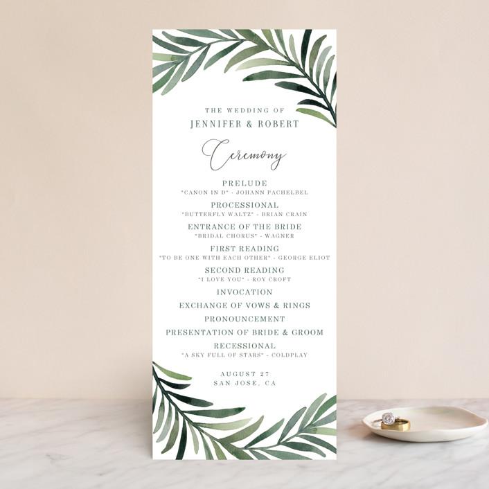 """""""Green leaf frame"""" - Wedding Programs in Limestone by Yaling Hou Suzuki."""