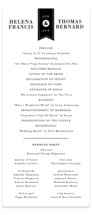 This is a black and white unique wedding program by 2birdstone called Helena with standard printing on signature in standard.