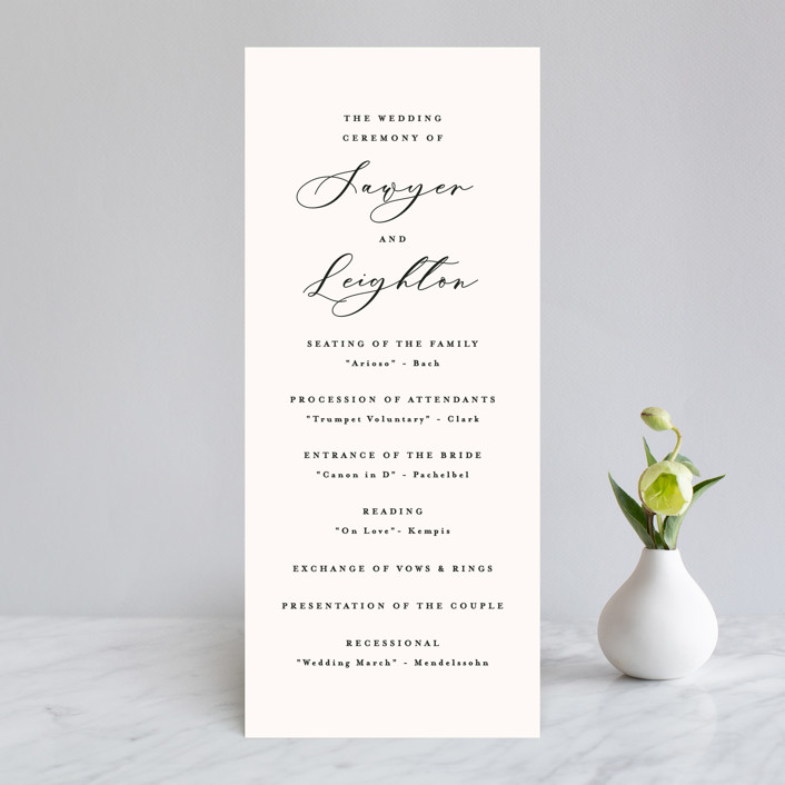 """Eternal"" - Wedding Programs in Ecru by Carly Reed Walker."