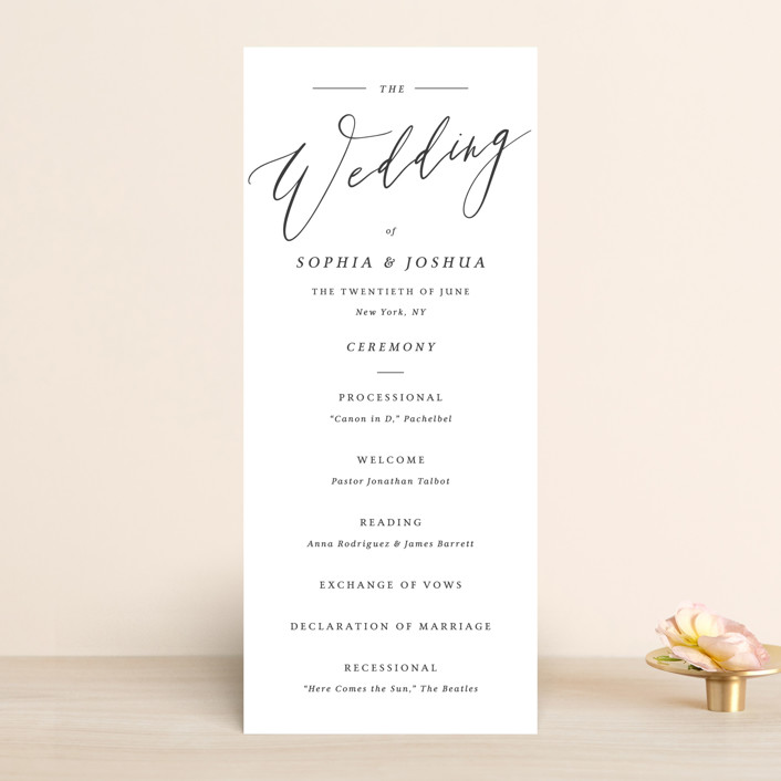 """""""Crescendo"""" - Wedding Programs in Snow by Griffinbell Paper Co.."""