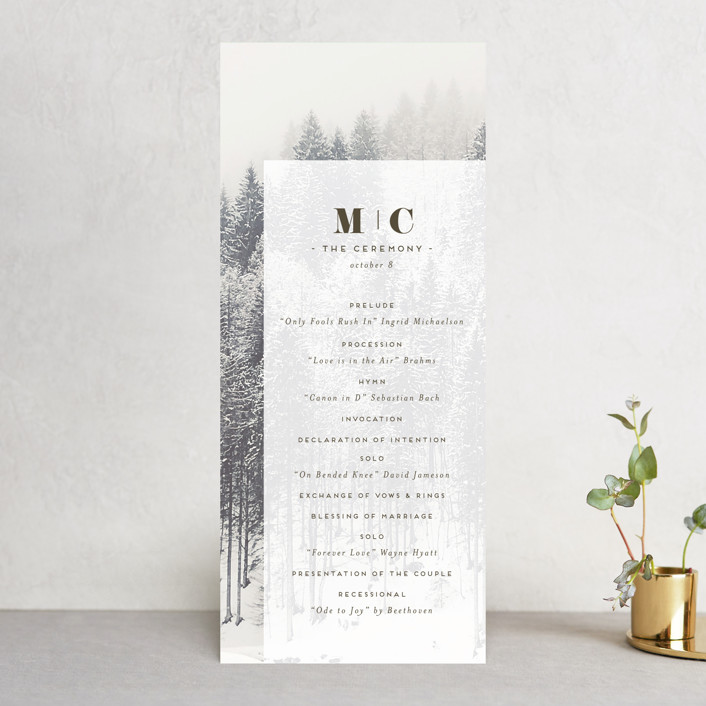"""torrone"" - Rustic Wedding Programs in Cedar by chocomocacino."
