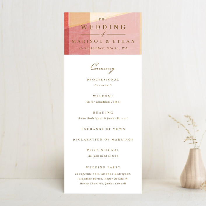 """""""Edgewater"""" - Modern Wedding Programs in Sunset by Griffinbell Paper Co.."""