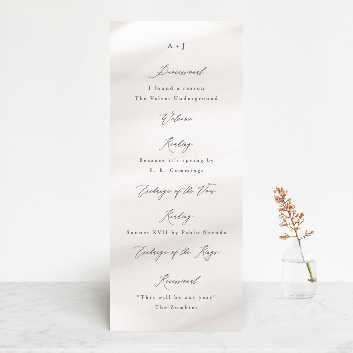 """""""Overjoyed"""" - Wedding Programs in Taupe by Ana Sharpe."""