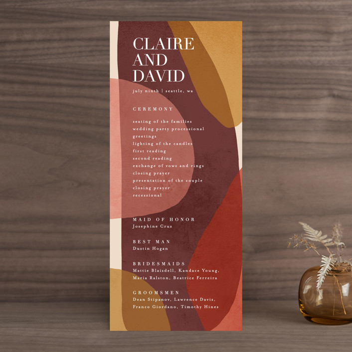 """Galeria"" - Modern Wedding Programs in Autumn Desert by Kelly Schmidt."
