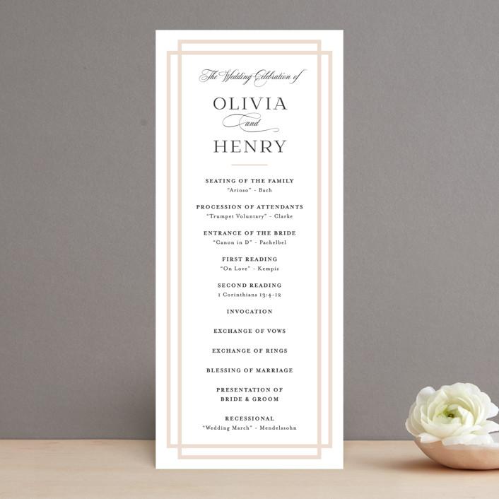 """Timeless Love"" - Wedding Programs in Blush by Carolyn MacLaren."
