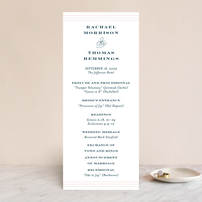"""""""Structured Charm"""" - Wedding Programs in Midnight by Kimberly FitzSimons."""