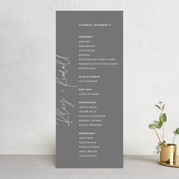 """""""printed"""" - Wedding Programs in Onyx by JoAnn Jinks."""