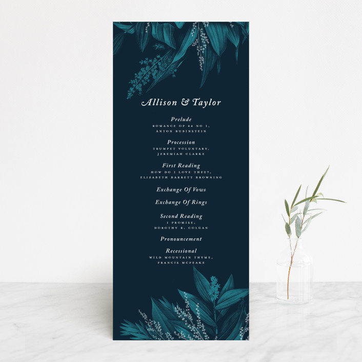 """""""Moonlit Garden"""" - Wedding Programs in Twilight by GeekInk Design."""