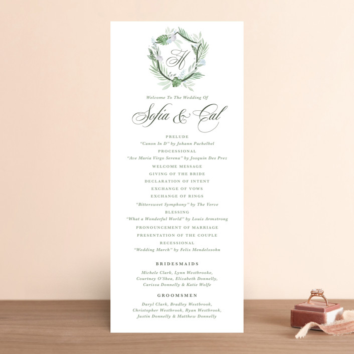 """Botanical Seal"" - Wedding Programs in Pastel by Kristen Smith."
