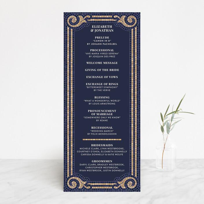 """Mosaic"" - Vintage Wedding Programs in Navy by GeekInk Design."