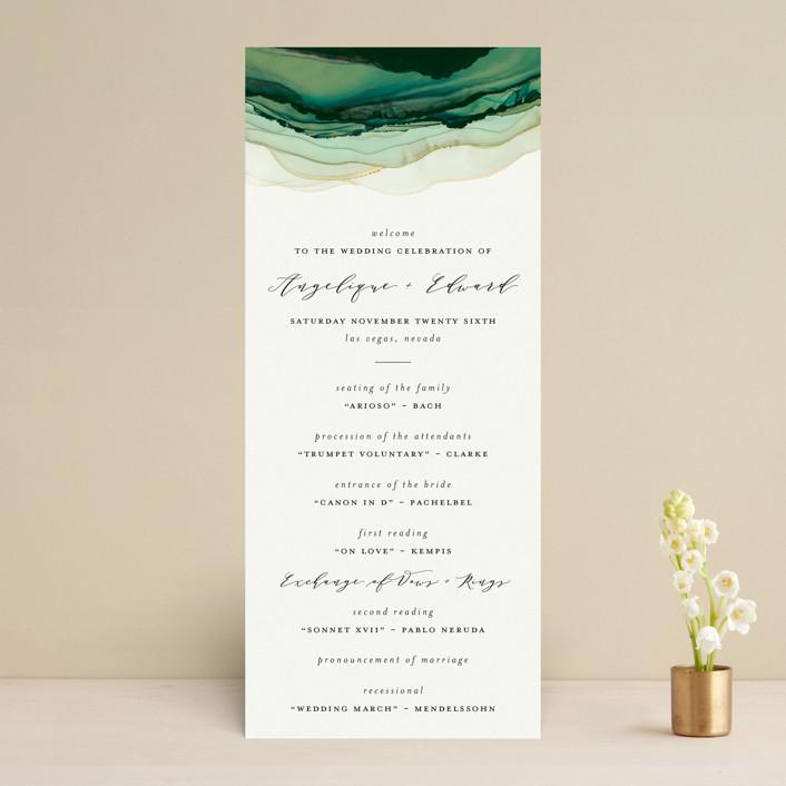 """Flow"" - Bohemian Wedding Programs in Emerald by Three Kisses Studio."