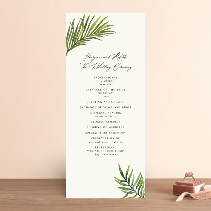 """""""Tropical Vows"""" - Wedding Programs in Jade by Chris Griffith."""