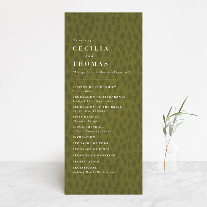 """romance in spring"" - Wedding Programs in Olive by Angela Marzuki."