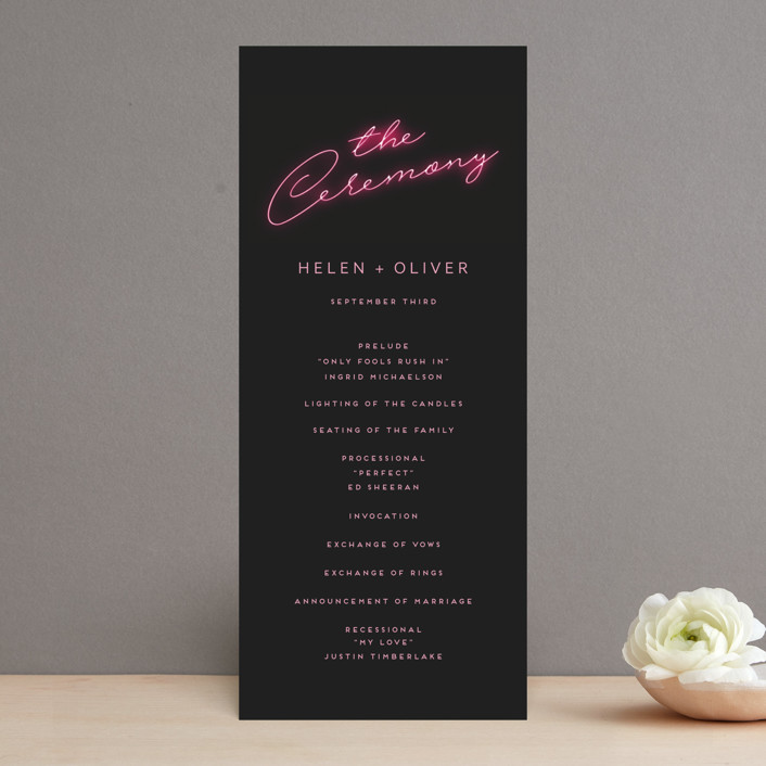 """Crazy in Love"" - Wedding Programs in Hot Pink by Design Lotus."