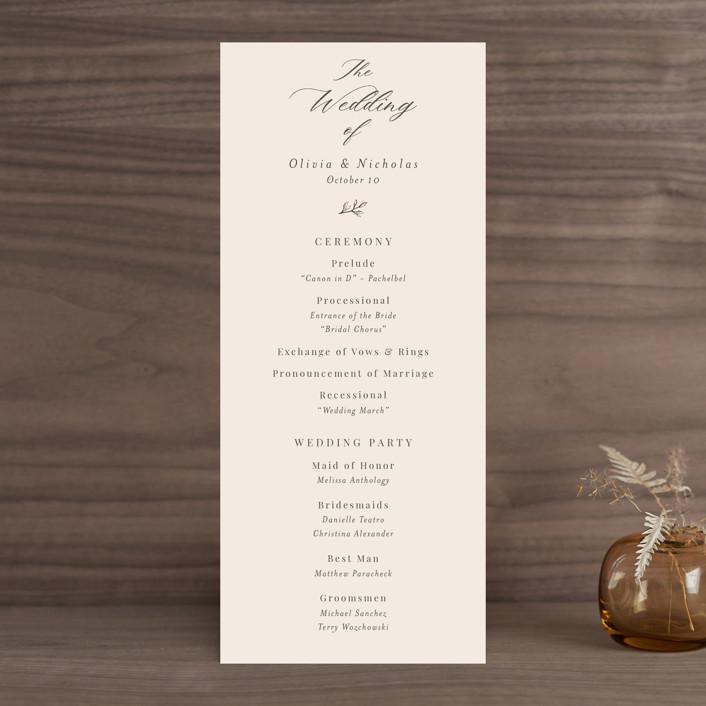 """Leafy Branch"" - Wedding Programs in Latte by Katherine Moynagh."