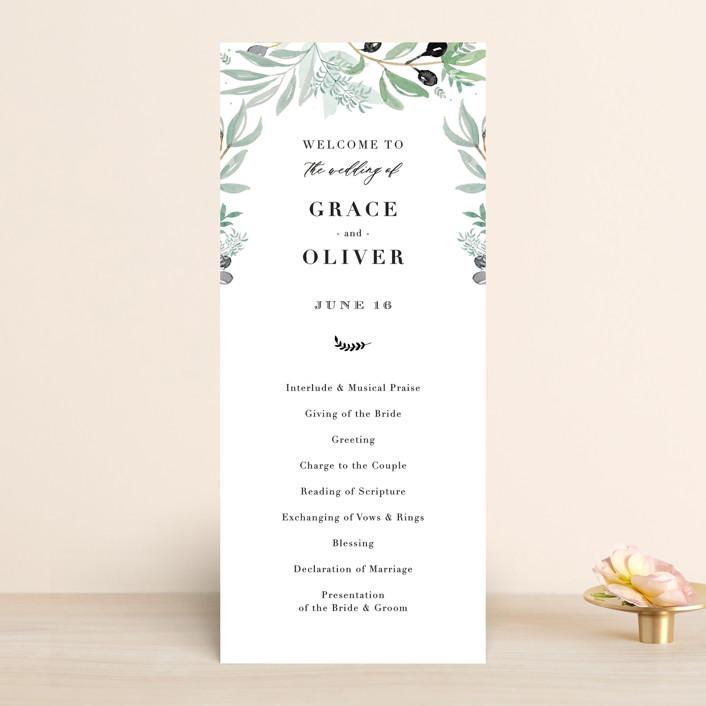 """""""Olivier"""" - Wedding Programs in Olive by Bonjour Paper."""