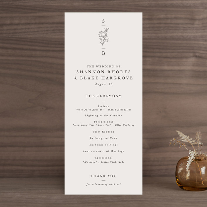 """""""Herb Garden"""" - Wedding Programs in Taupe by Sarah Brown."""