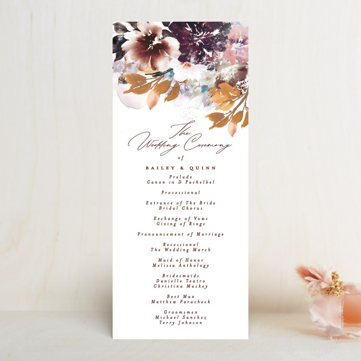 """Lush Bouquet"" - Wedding Programs in Autumn by Phrosne Ras."