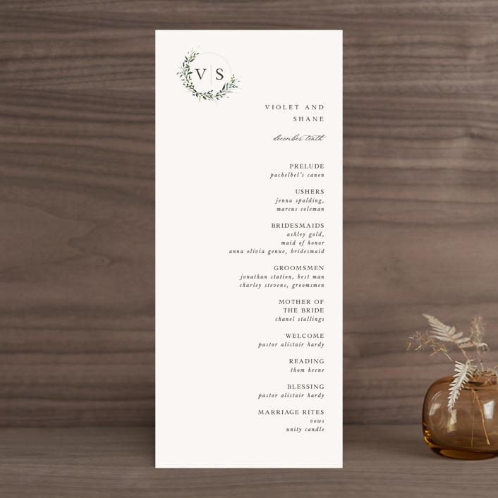 """Green Wreath"" - Wedding Programs in Champagne by Lori Wemple."