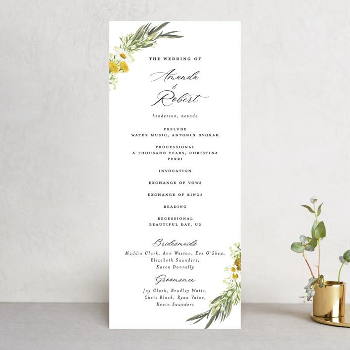 """Organic Florals"" - Wedding Programs in Honey by Susan Moyal."