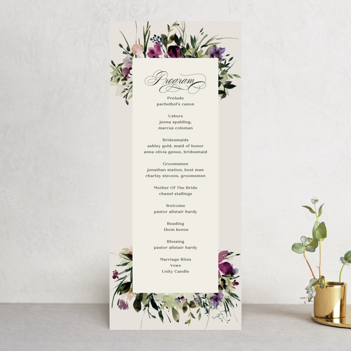 """""""Floral Love"""" - Wedding Programs in Lilac by Lori Wemple."""