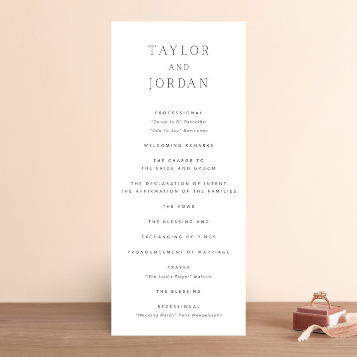 """""""Svelte"""" - Wedding Programs in Ivory by Fig and Cotton."""