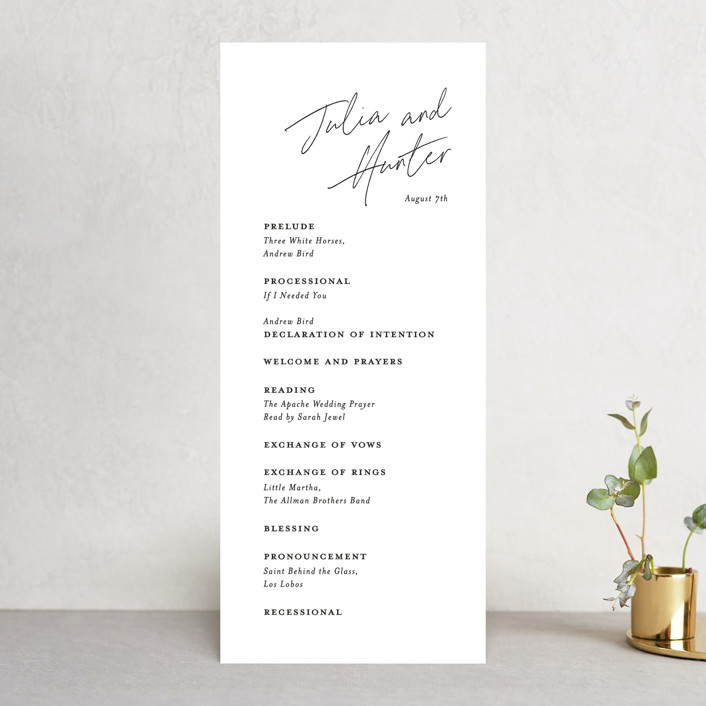 """Landscape"" - Wedding Programs in Black Tie by Laura Hamm."