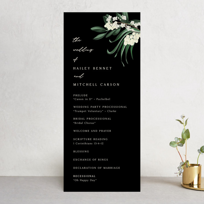 """Meander"" - Wedding Programs in Obsidian by Kaydi Bishop."
