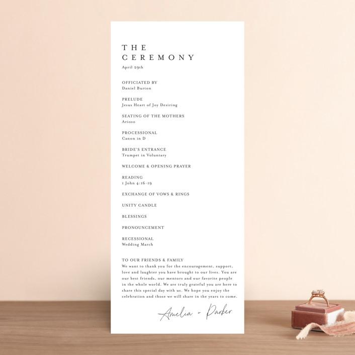 """""""Handwritten"""" - Wedding Programs in Obsidian by Jennifer Postorino."""