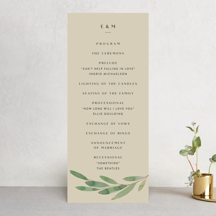 """""""Modern Leaves"""" - Wedding Programs in Smoked by Four Wet Feet Studio."""
