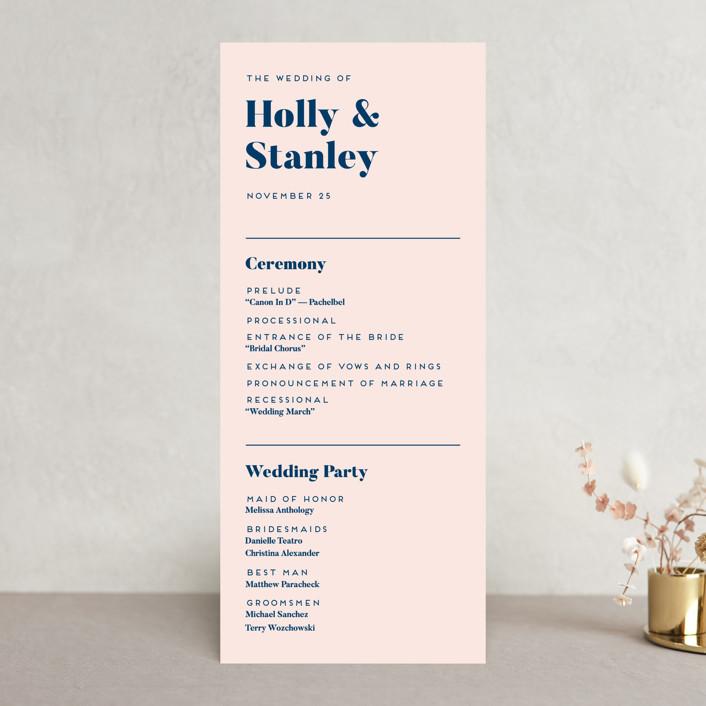 """Vogue"" - Wedding Programs in Navy by Genna Blackburn."