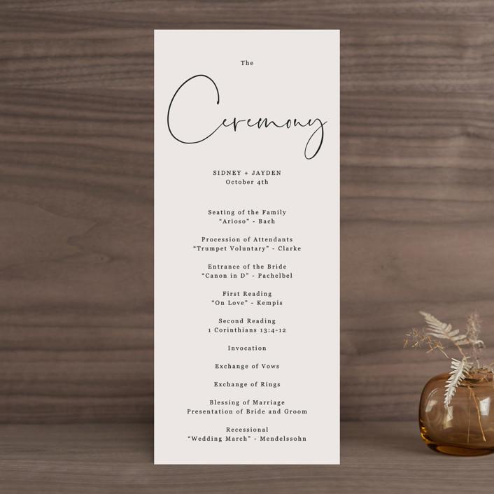 """""""stylist script"""" - Wedding Programs in Ivory by Cass Loh."""