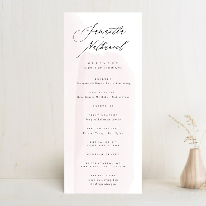 """Painterly"" - Wedding Programs in Blush by Kelly Schmidt."