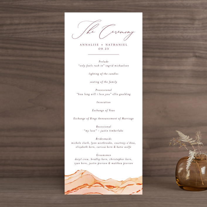 """Sandstone"" - Wedding Programs in Topaz by Erin Deegan."