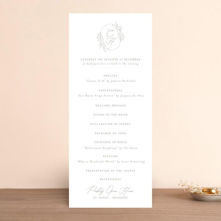 """Essential"" - Wedding Programs in Mist by Design Lotus."