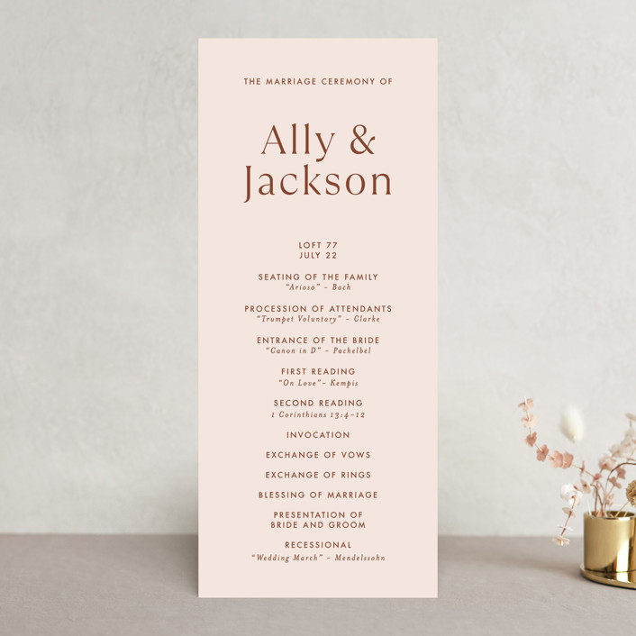 """""""There Will Be a Party"""" - Funny Wedding Programs in Terra Cotta by Amy Payne."""