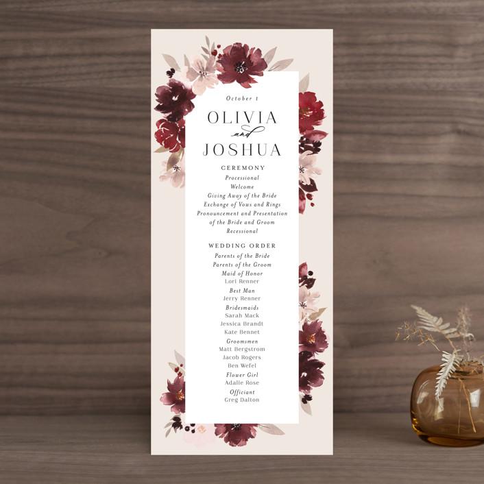 """Emyn"" - Wedding Programs in Burgundy by Itsy Belle Studio."