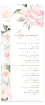 This is a white unique wedding program by Phrosne Ras called beautiful peonies with standard printing on signature in standard.