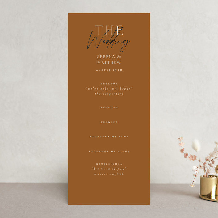 """""""Modern Traditionalist"""" - Wedding Programs in Butterscotch by Morgan Kendall."""